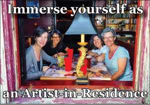 Centrum Writing Residency, Port Townsend, with Waverly Fitzgerald, Donna Miscolta, Jennifer D. Munro, Allison Green (left to right). Photo credit: Siren's bartender